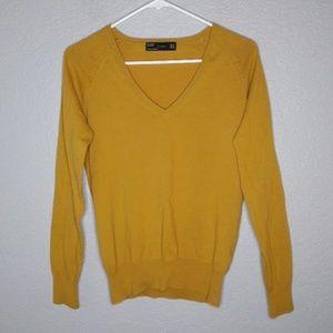 Zara Mustard Colored V Neck Cotton/Nylon Sweater